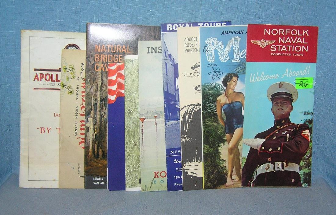 Group of vintage travel maps and brochures