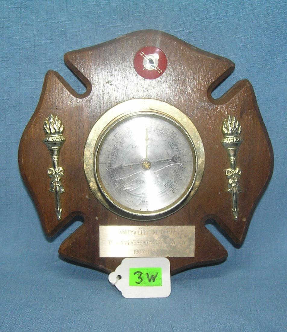 Vintage fire dept wall barometer