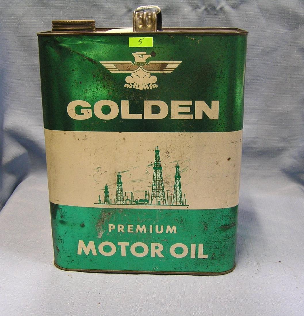 Golden motor oil can