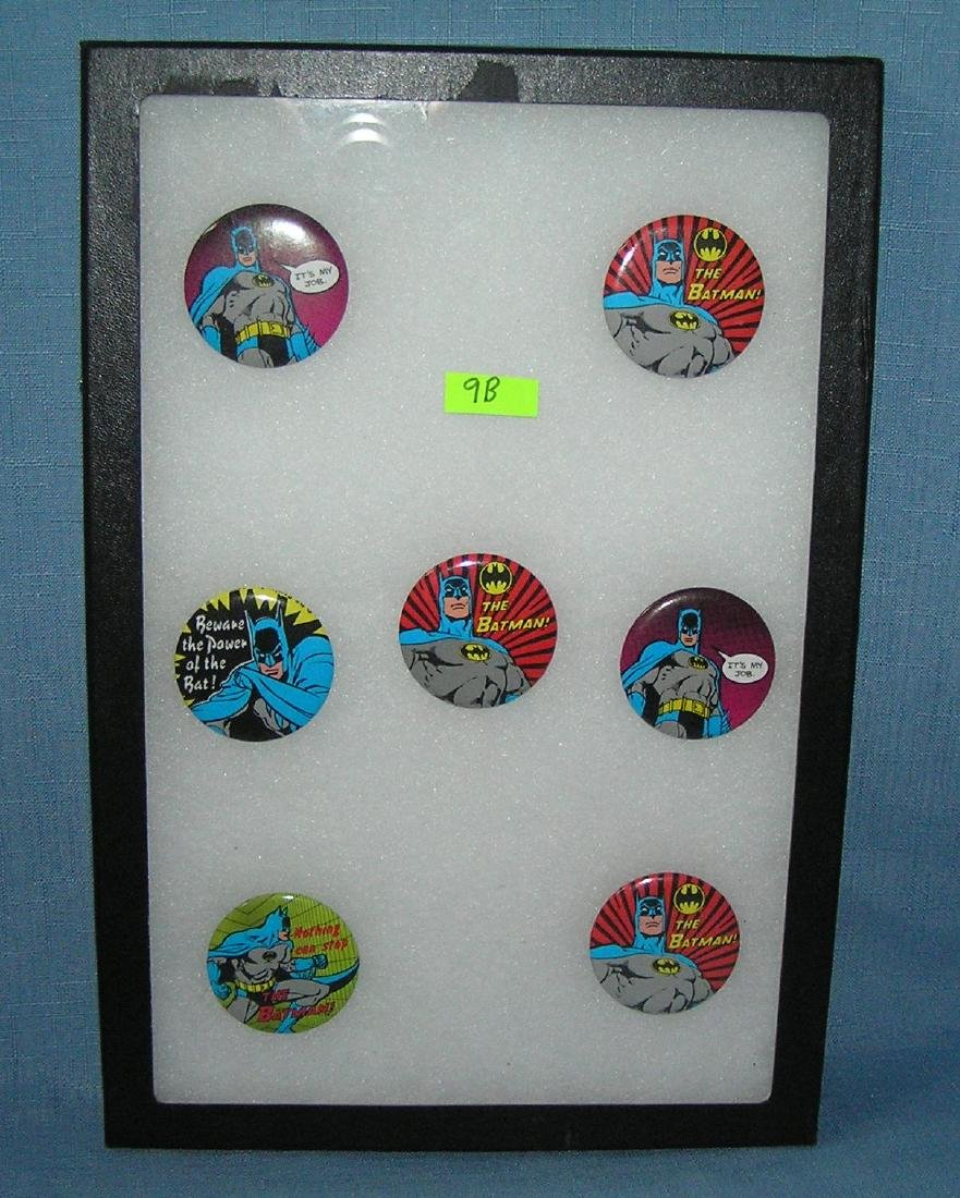 Collection of Batman super hero pin back buttons
