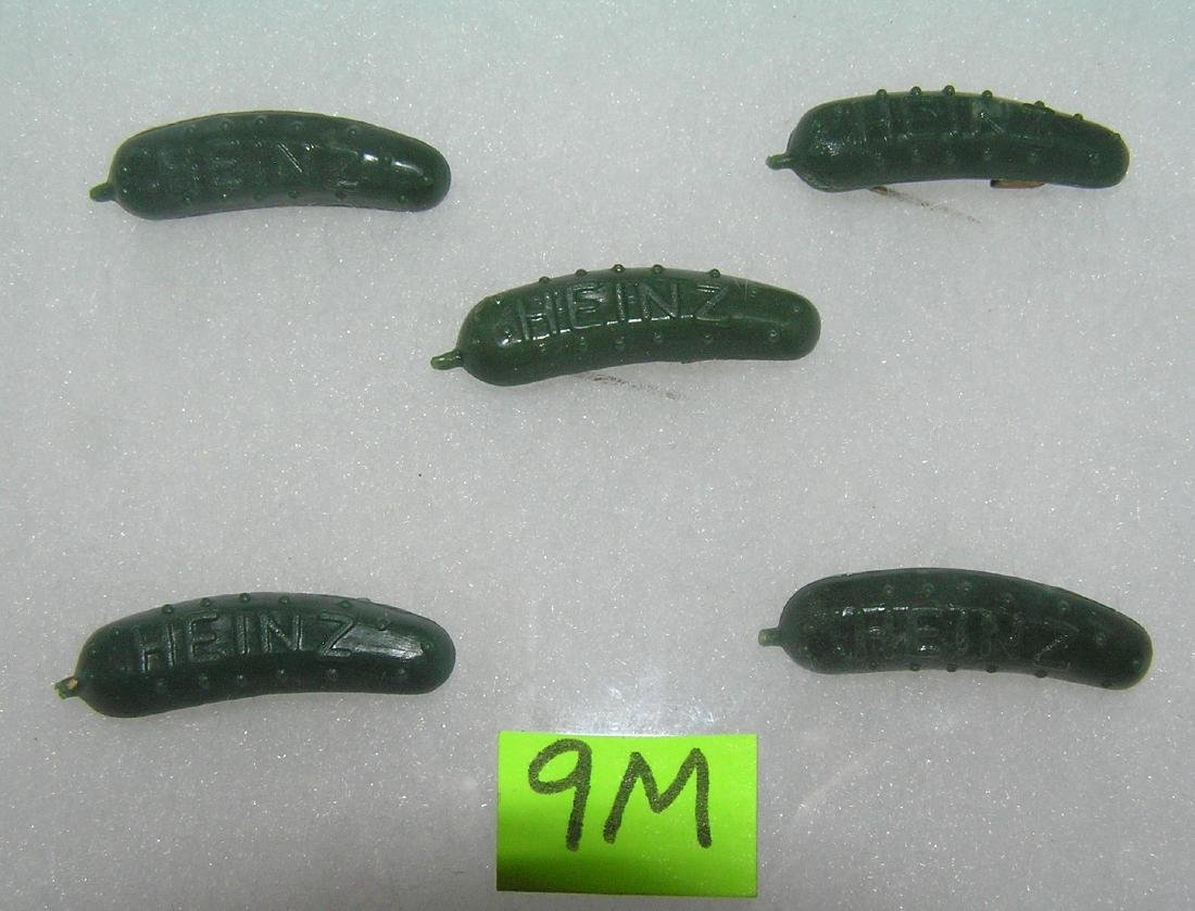 Group of Heinz pickles advertising figural pins