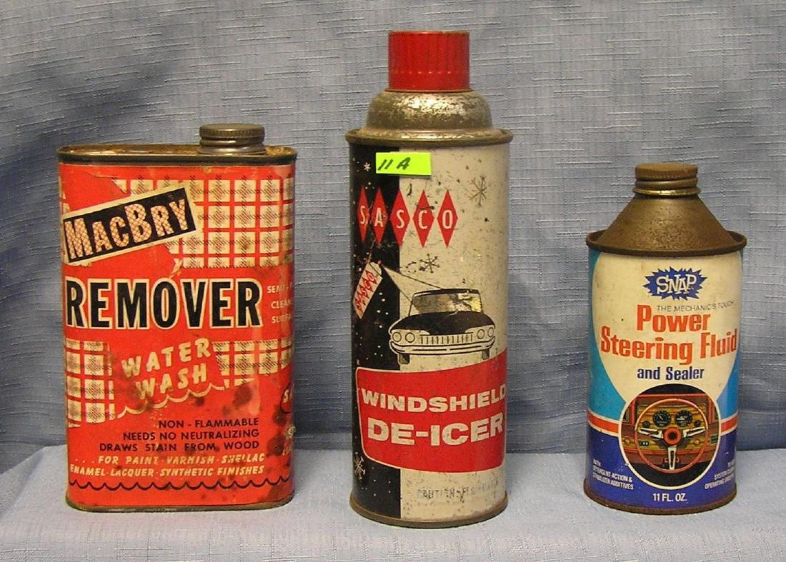 Vintage automotive tin advertising products