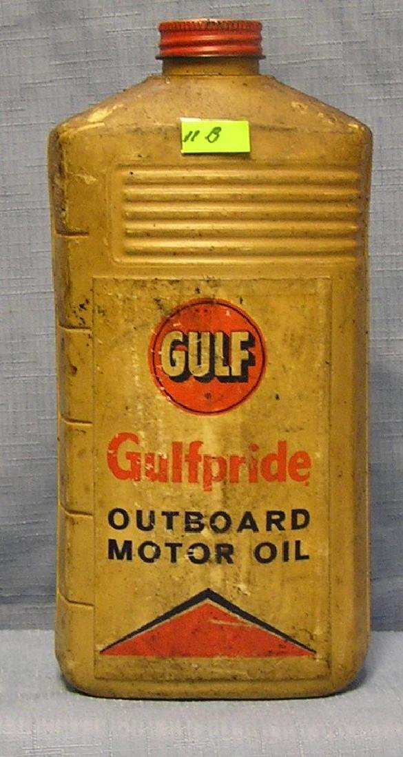 Vintage Gulf Pride outboard oil container