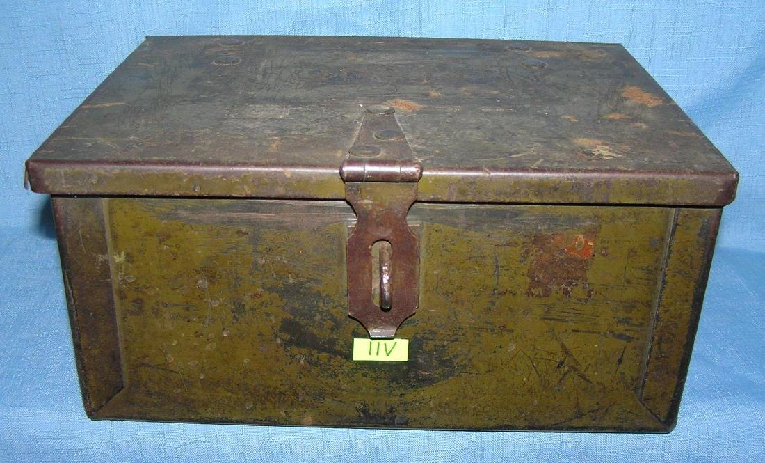 Early military metal locking storage box