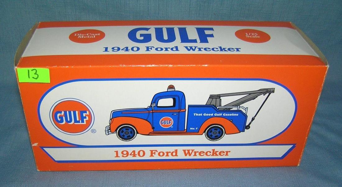 All cast metal 1940 Gulf Ford wrecker tow truck
