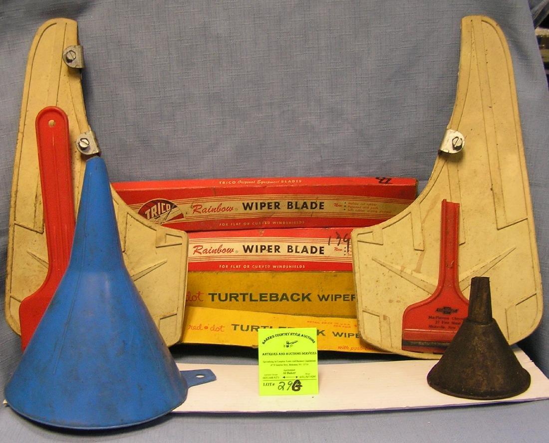 Box of vintage automotive collectibles