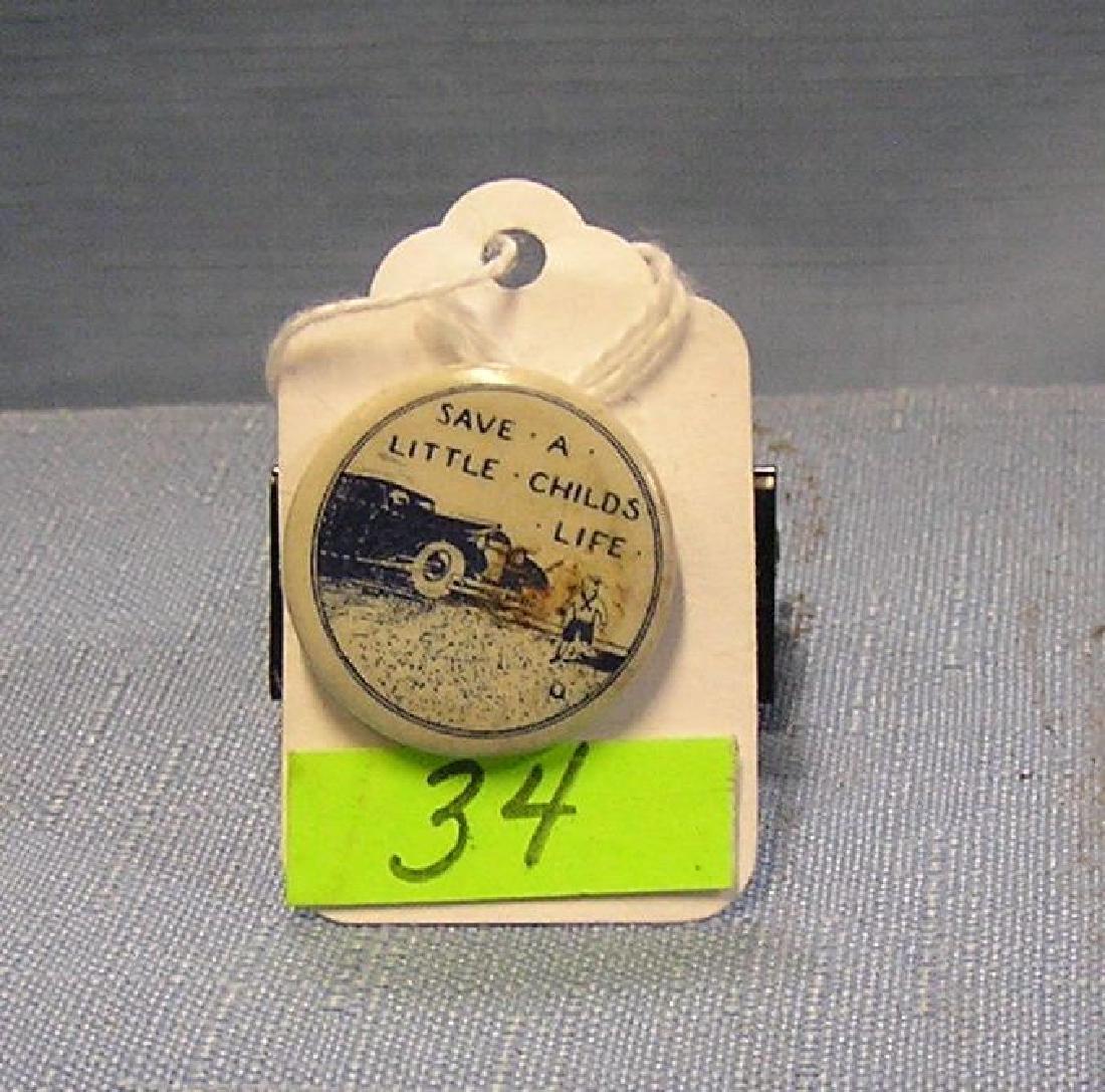 Antique automotive child safety button