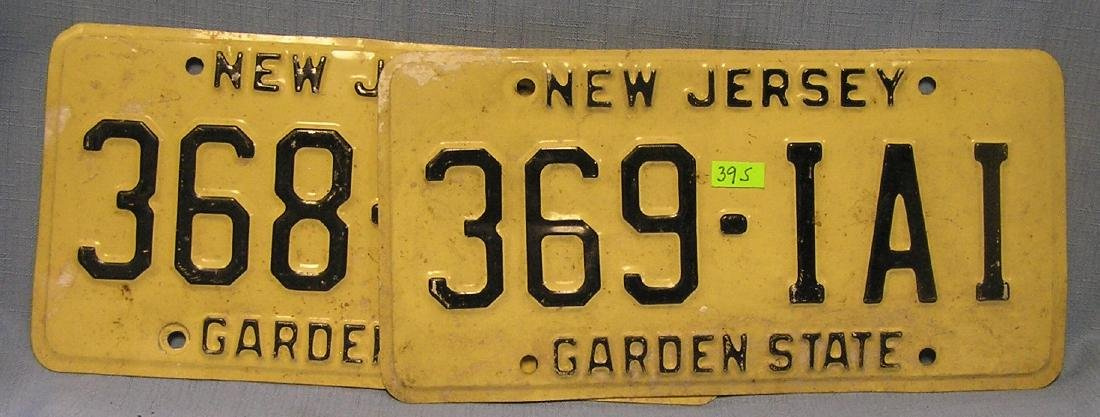 Pair of vintage NJ license plates
