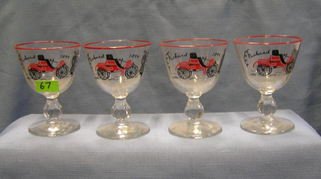 Antique horseless carriage drink glasses