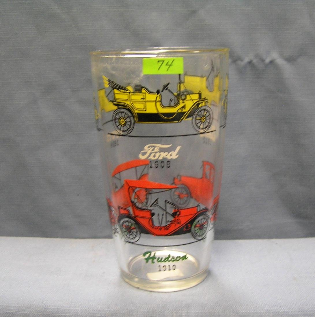 Antique automobile advertising drinking glass