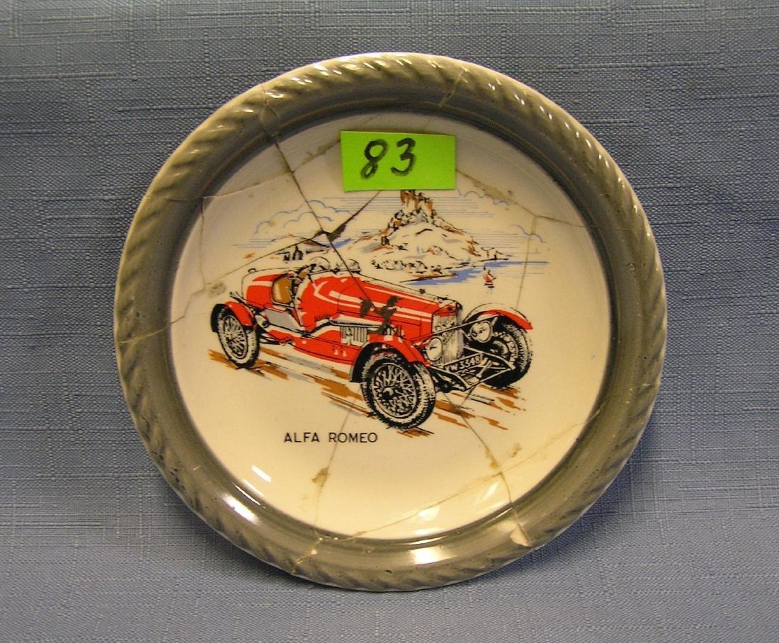 Early Alpha Romeo race car advertising dish