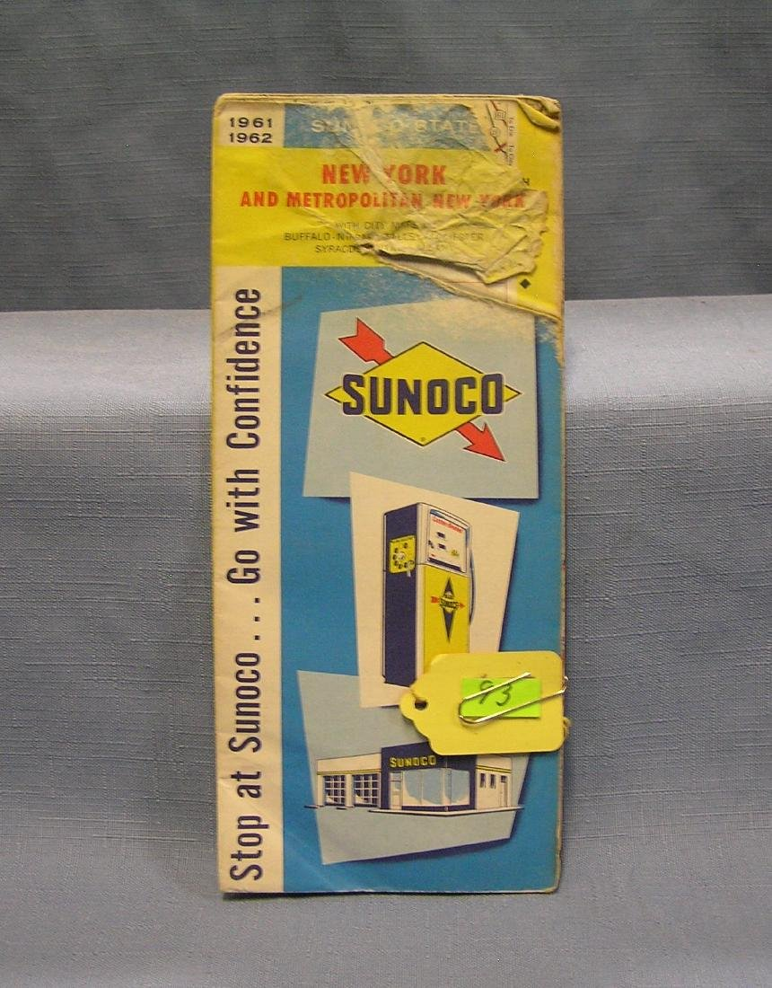 Vintage Sunoco gas advertising road map