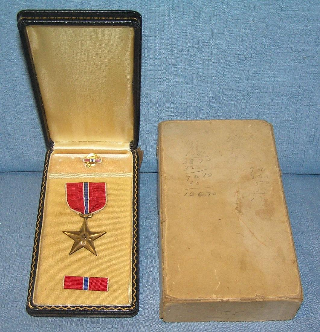 WWII bronze star with slotted brooch