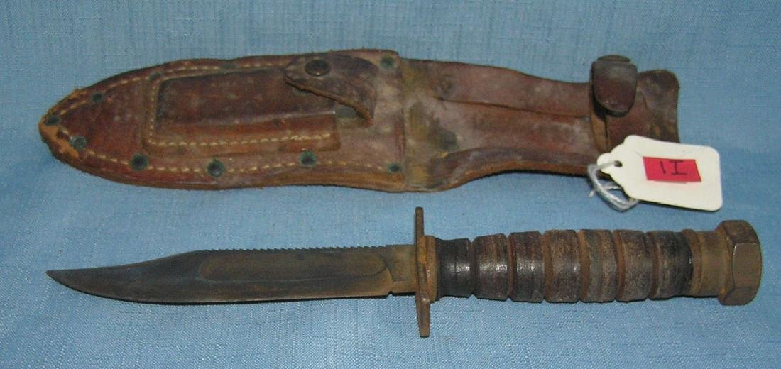 WWII military fighting knife with scabbard and knife