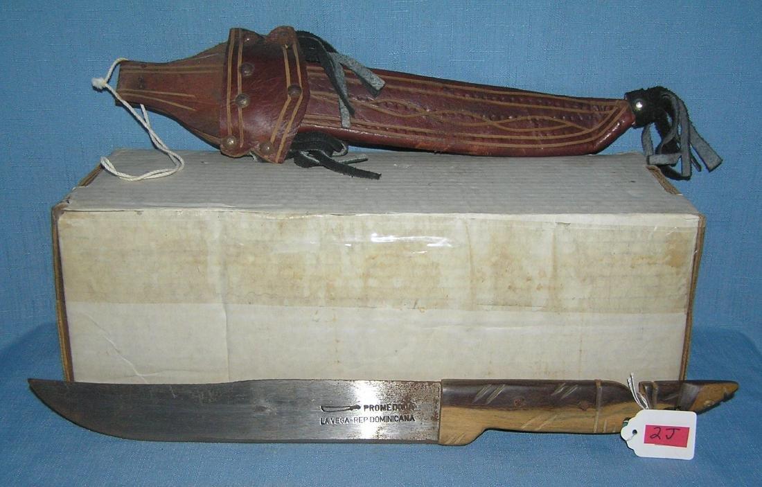 Vintage souvenir machete with leather sheath