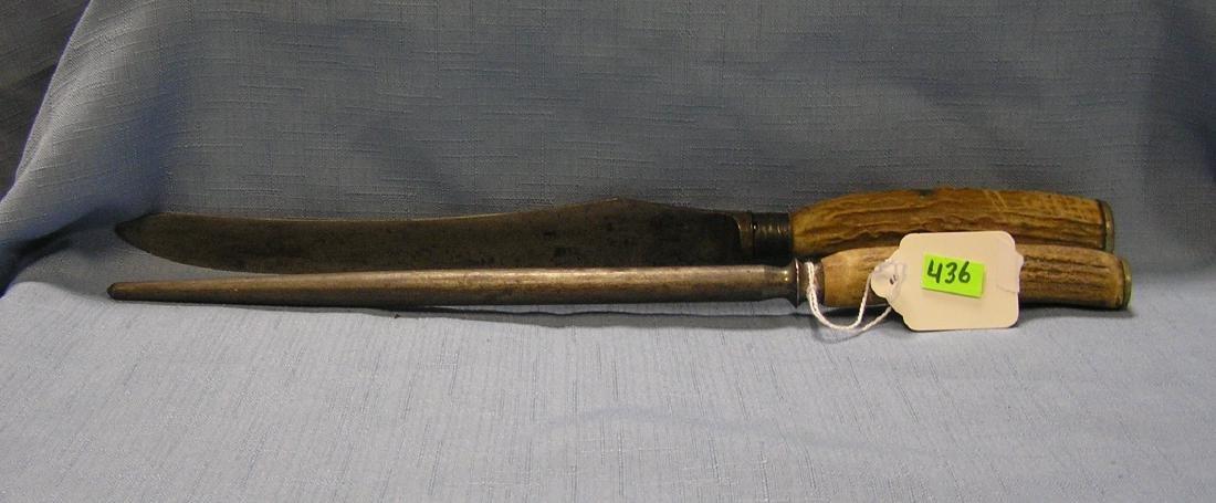 Bone handled carving knife and sharpener set