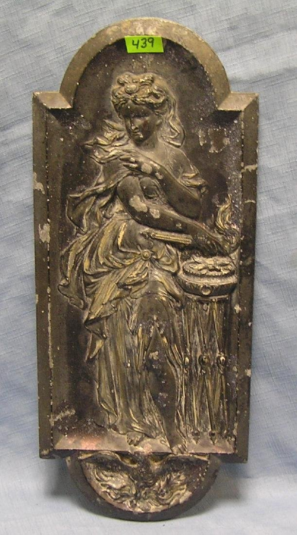 Early cast metal figural Lady Liberty plate