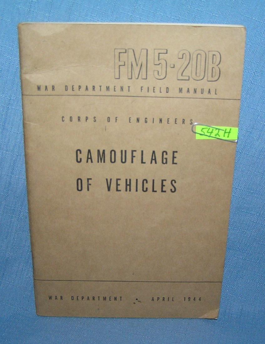 Camoflage of vehicles War Dept Field Manuel 1944
