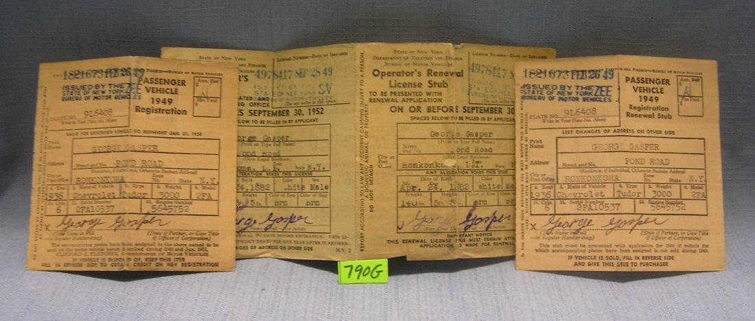 Group of three early drivers licenses