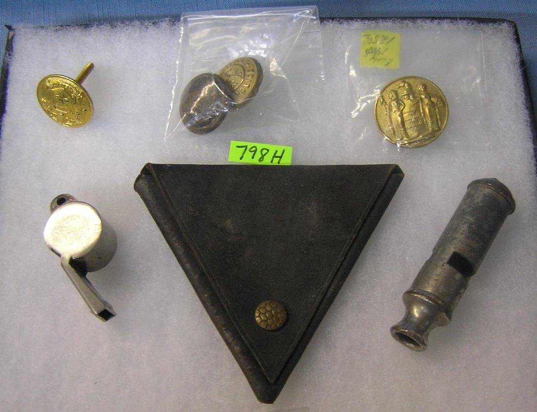 Early policeman buttons, whistles&leather case