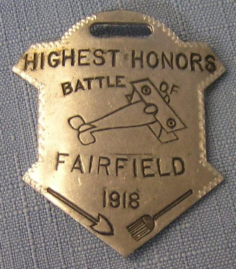 Fairfield pilots award watch fob badge 1918