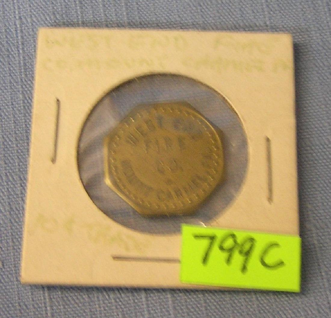 West end Fire company ten cent tray token
