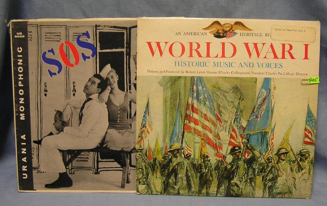 Pair of vintage WWI & WWII record albums