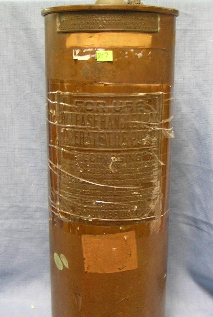 Antique solid copper fire extinguisher