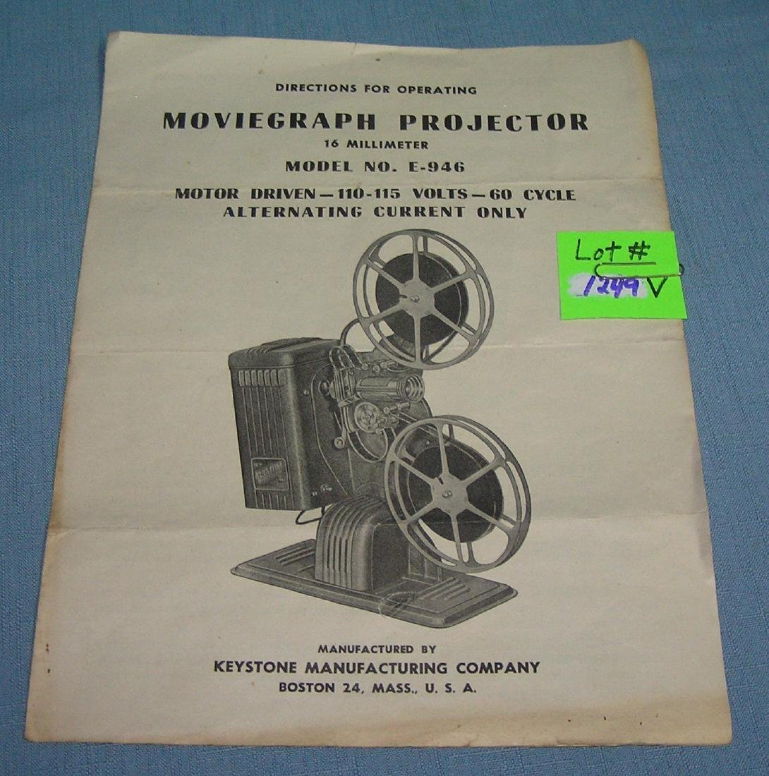 Vintage Moviegraph projector booklet