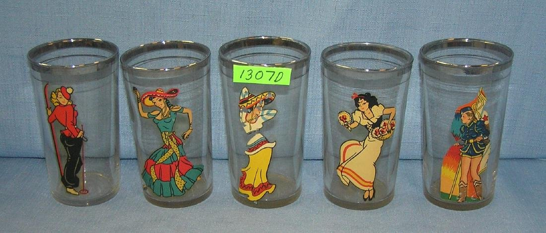 Group of 5 early erotica drinking glasses