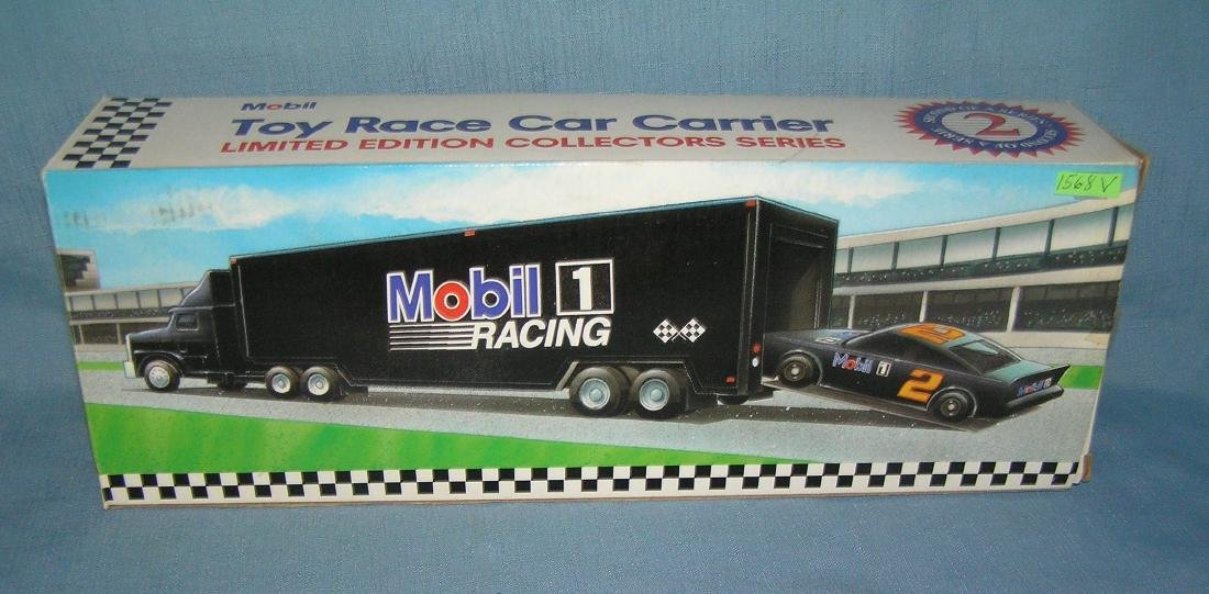 Mobile 1 oil Co. racing crew delivery truck and race