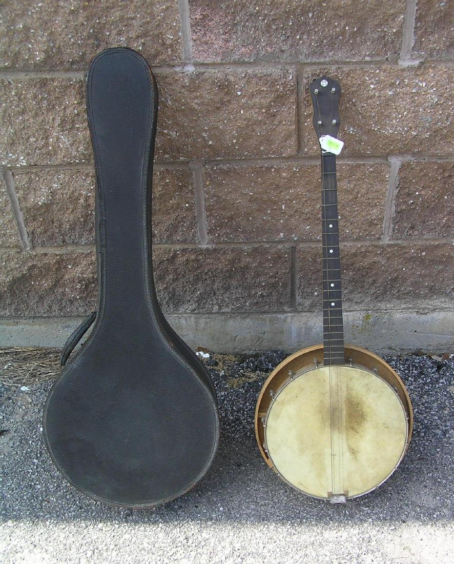 Antique Banjo with resonator and case