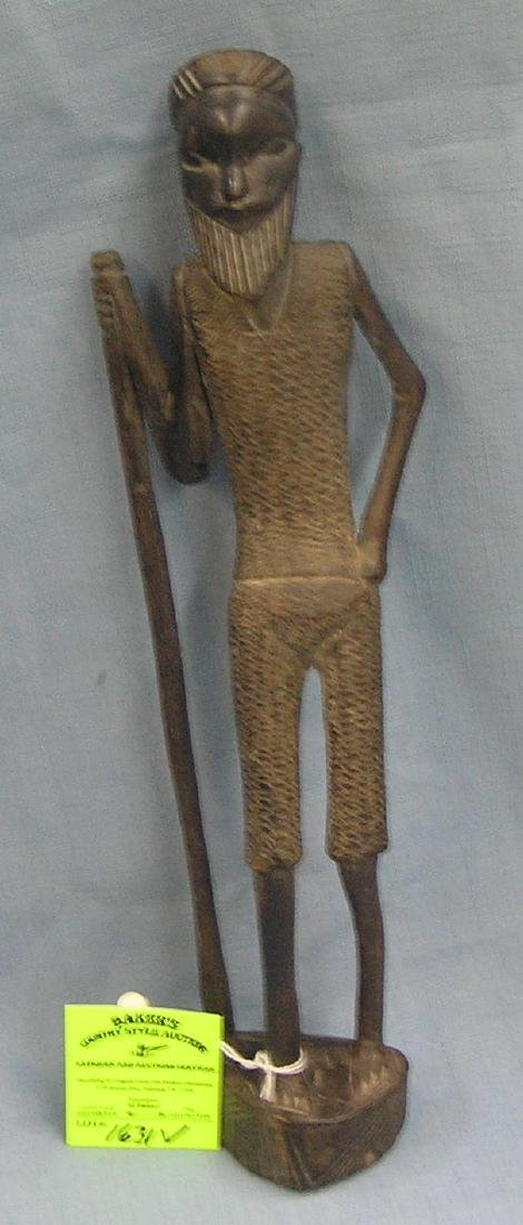 Antique hand carved African warrior/Wiseman
