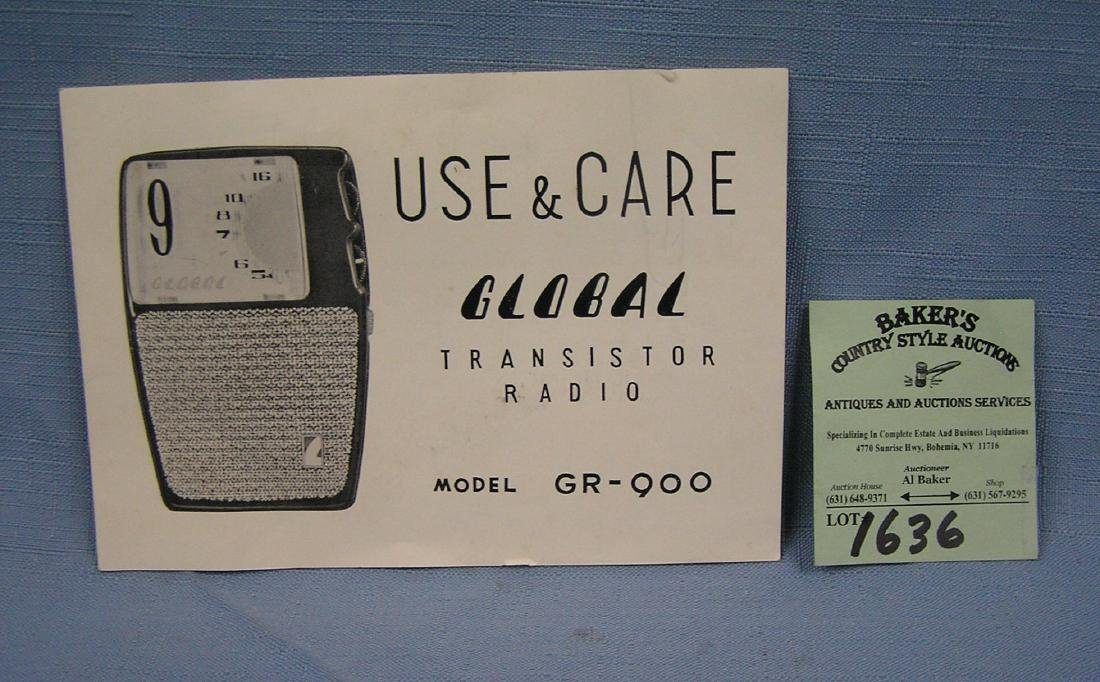 Vintage Global transistor radio booklet