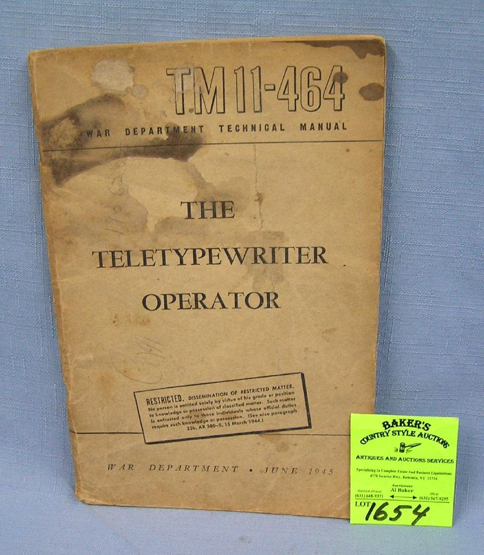Vintage WWII the teletypewriter operator book