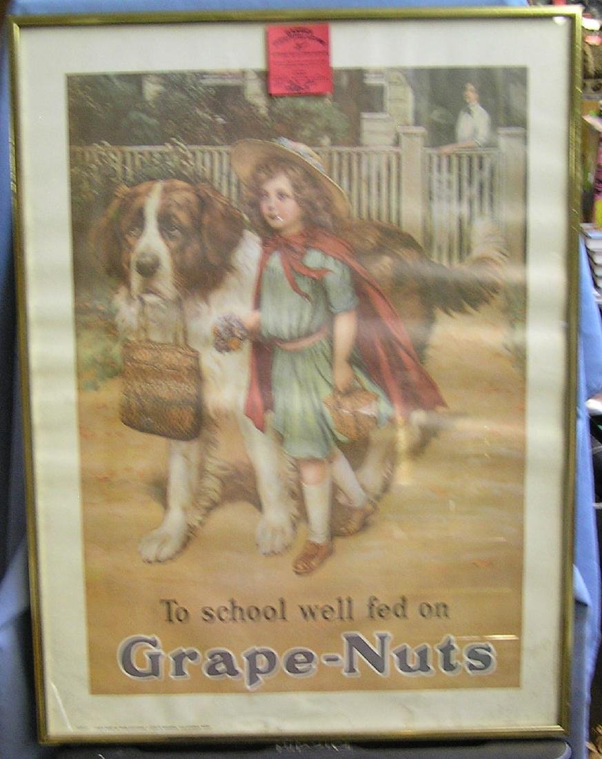 Vintage Grape Nuts cereal advertising poster