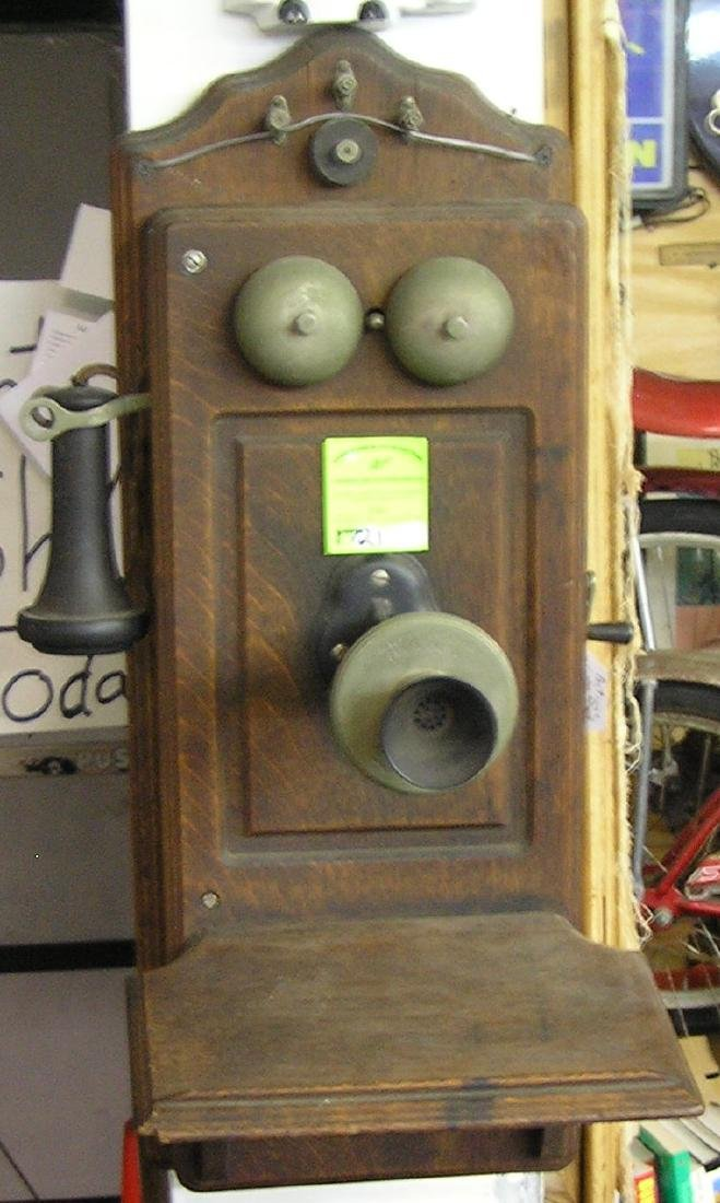 Antique oak wall telephone