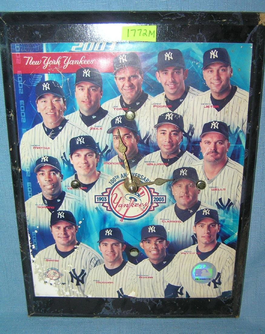 NY Yankees team photo wall clock