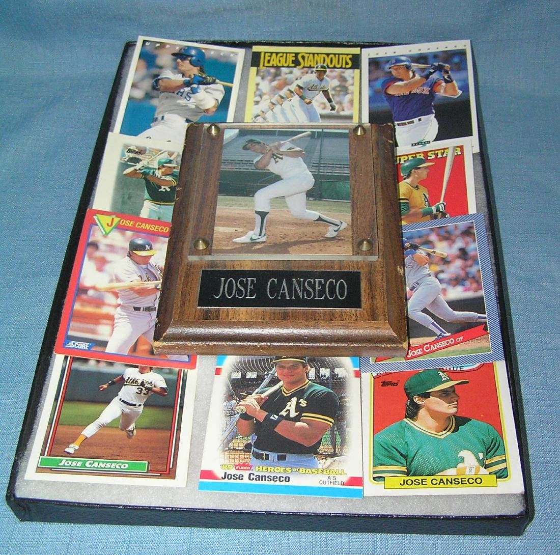 Jose Conseco collectible wall plaque and baseball cards