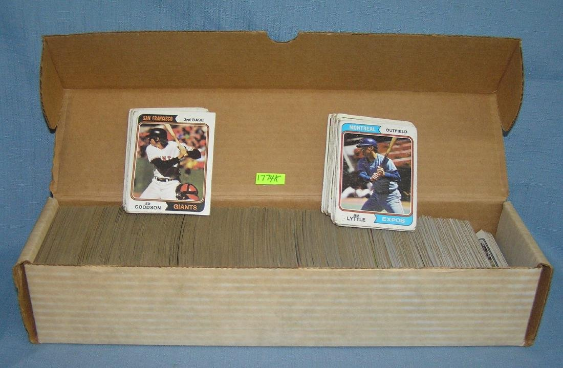 Box of 1974 Topps baseball cards