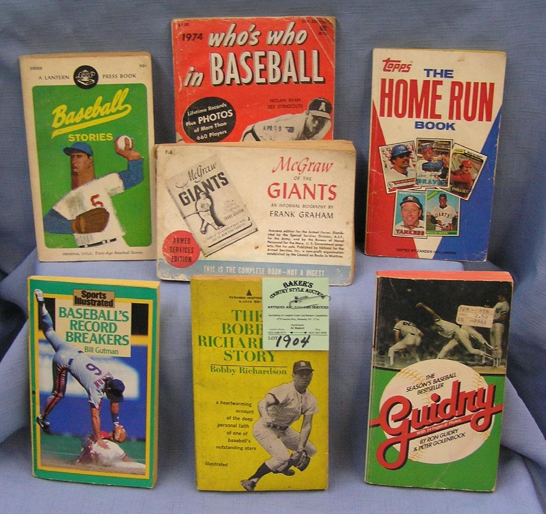 Group of seven vintage baseball books