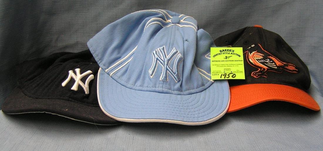 Box of vintage baseball caps