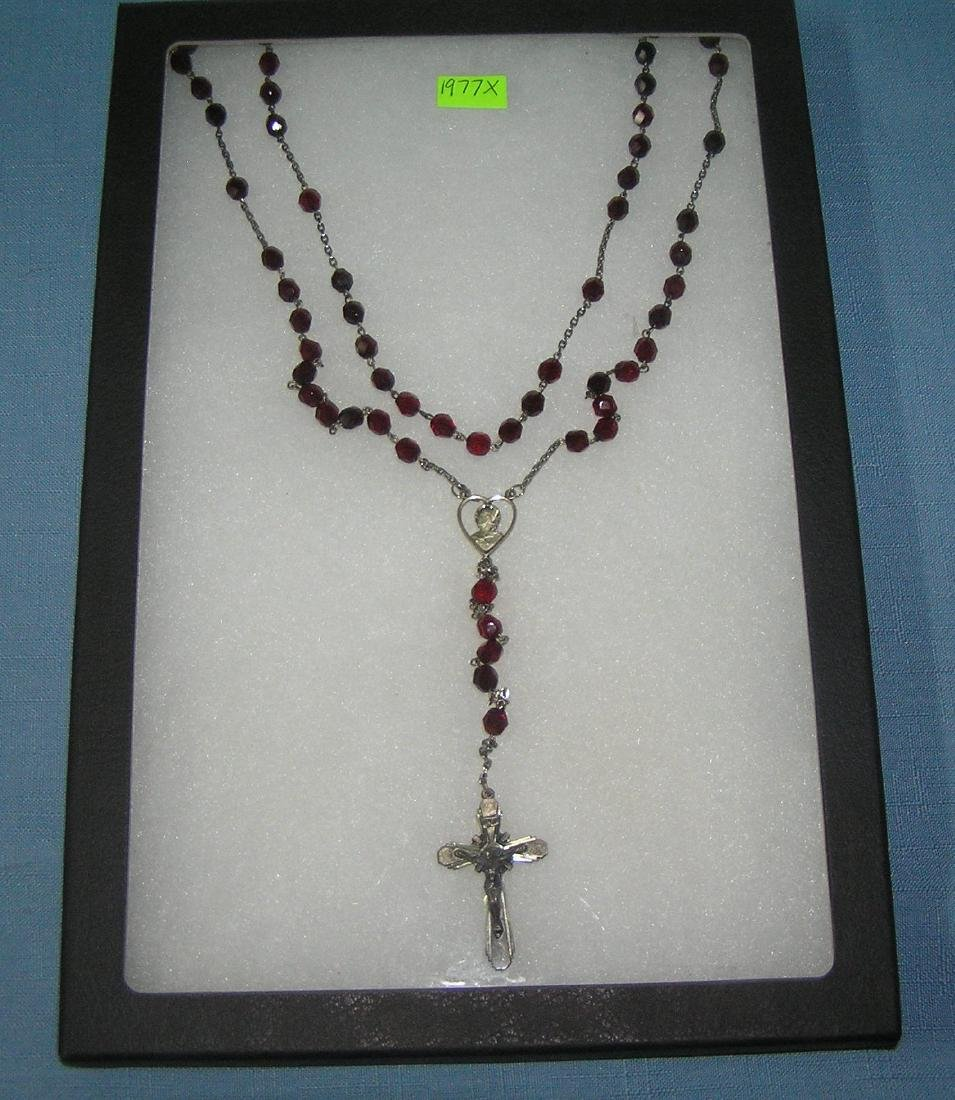 Great early sterling silver rosary bead set