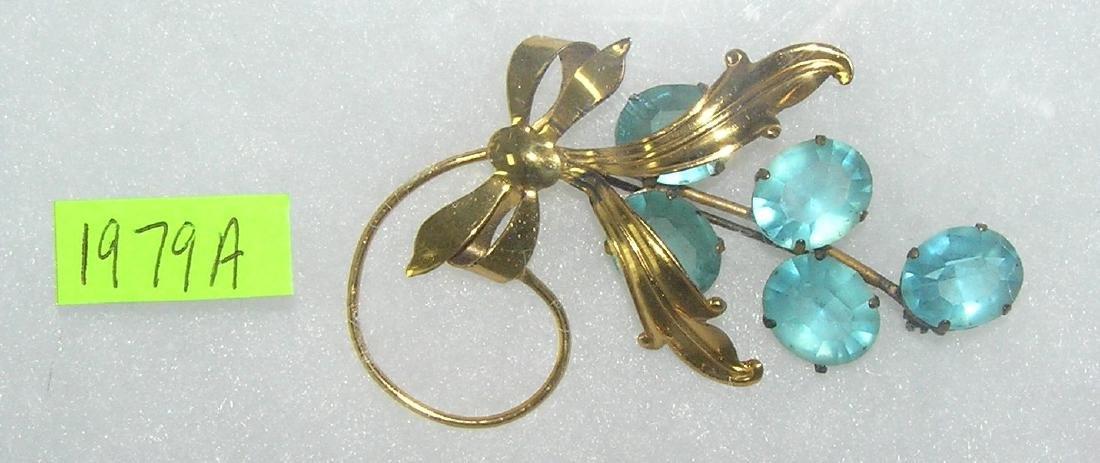 Antique sterling silver aqua marine pin