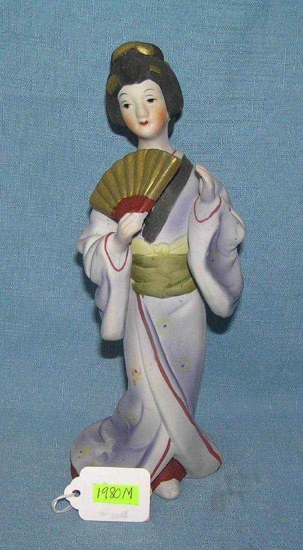 Asian fan girl hand painted bisque figure