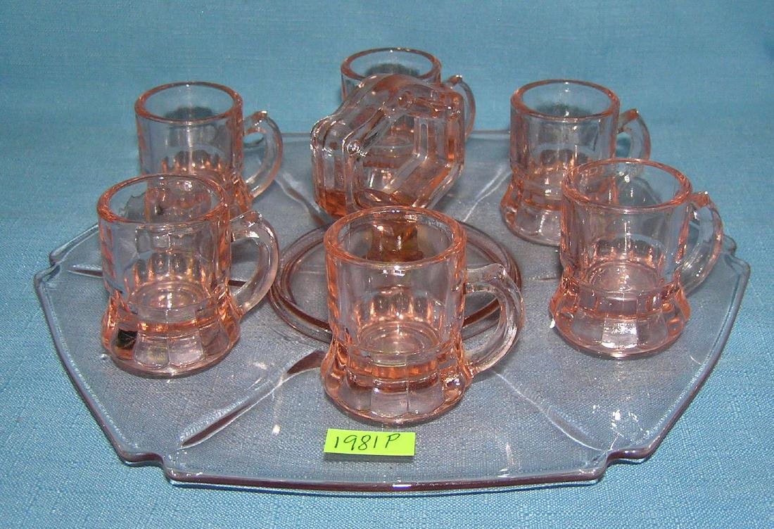 Depression Glass serving dish with shot glasses