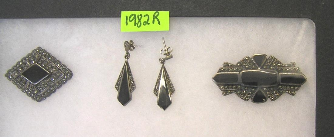 Sterling silver and marcasite pins and earrings