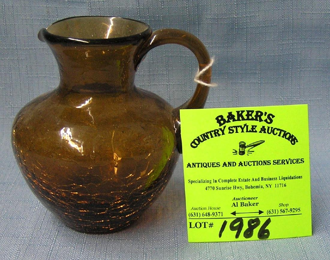 Hand blown crackle glass miniature pitcher