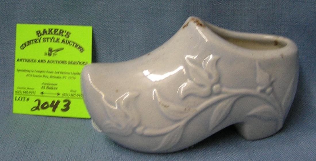 Vine decorated Delftware shoe