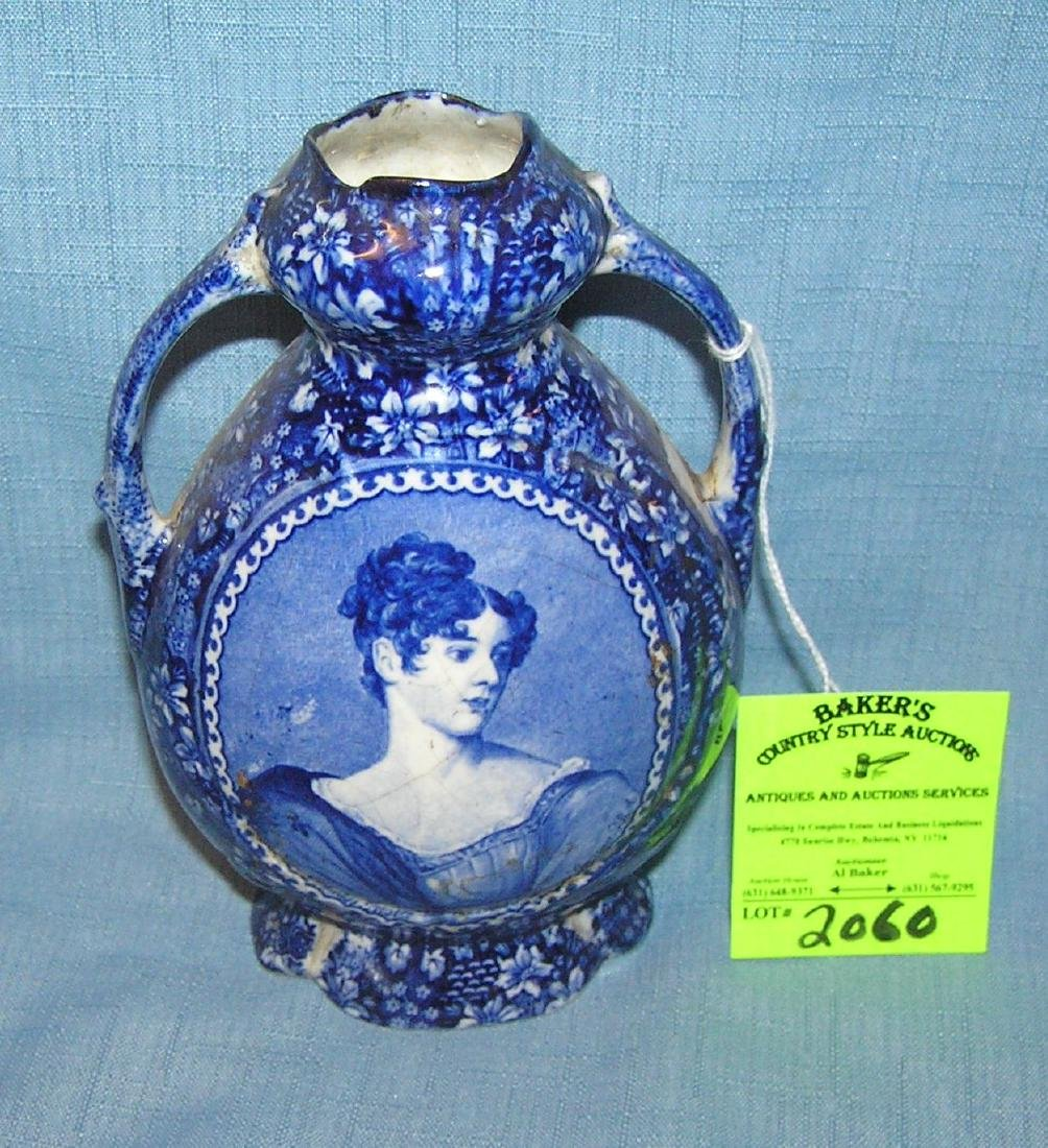 Antique blue decorated portrait vase